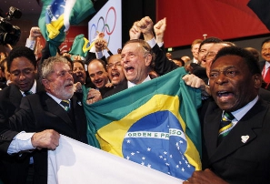 President Lula, COB president Carlos Arthur Nuzman and Pelé celebrate as Rio wins its bid to host the 2016 Olympics