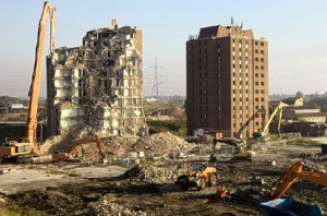 Demolition of Park Village Tower in east London for Olympics