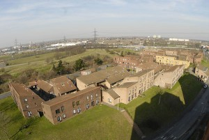 Clays Lane Housing Estate viewed from the adjacent and now empty student tower blocks, photo by Mike Wells