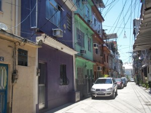 A well-kept street in the oldest part of the favela