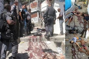 Images of the bodies and bloodstained alleys following the police operation in Morro do Juramento