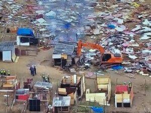 Demolition of homes at the Sítio da Roseira, in Guaianases.