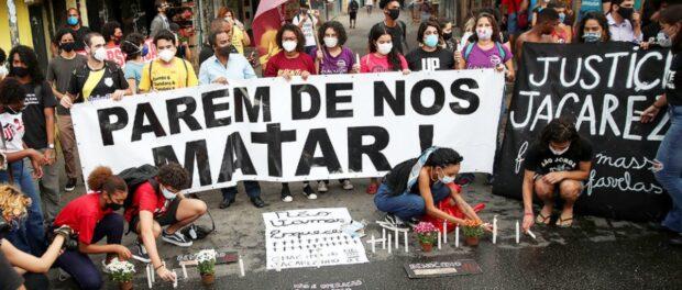 Protest in Jacarezinho while the public hearing happened in the morning of May 7, the morning after Jacarezinho massacre