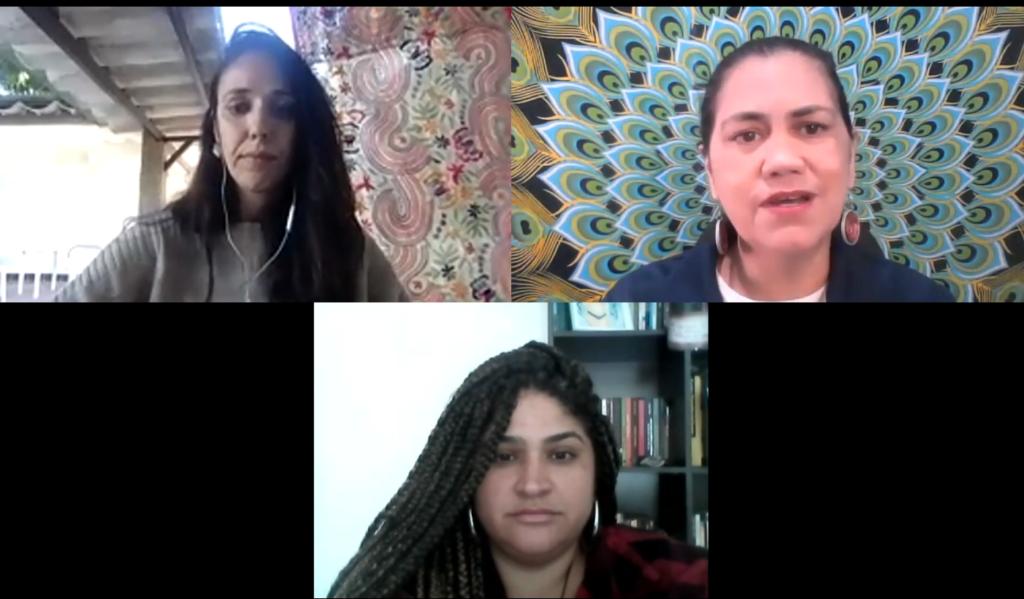 Elisa Maria Campos, Valdirene Militão and Tatiana Lima during the live event