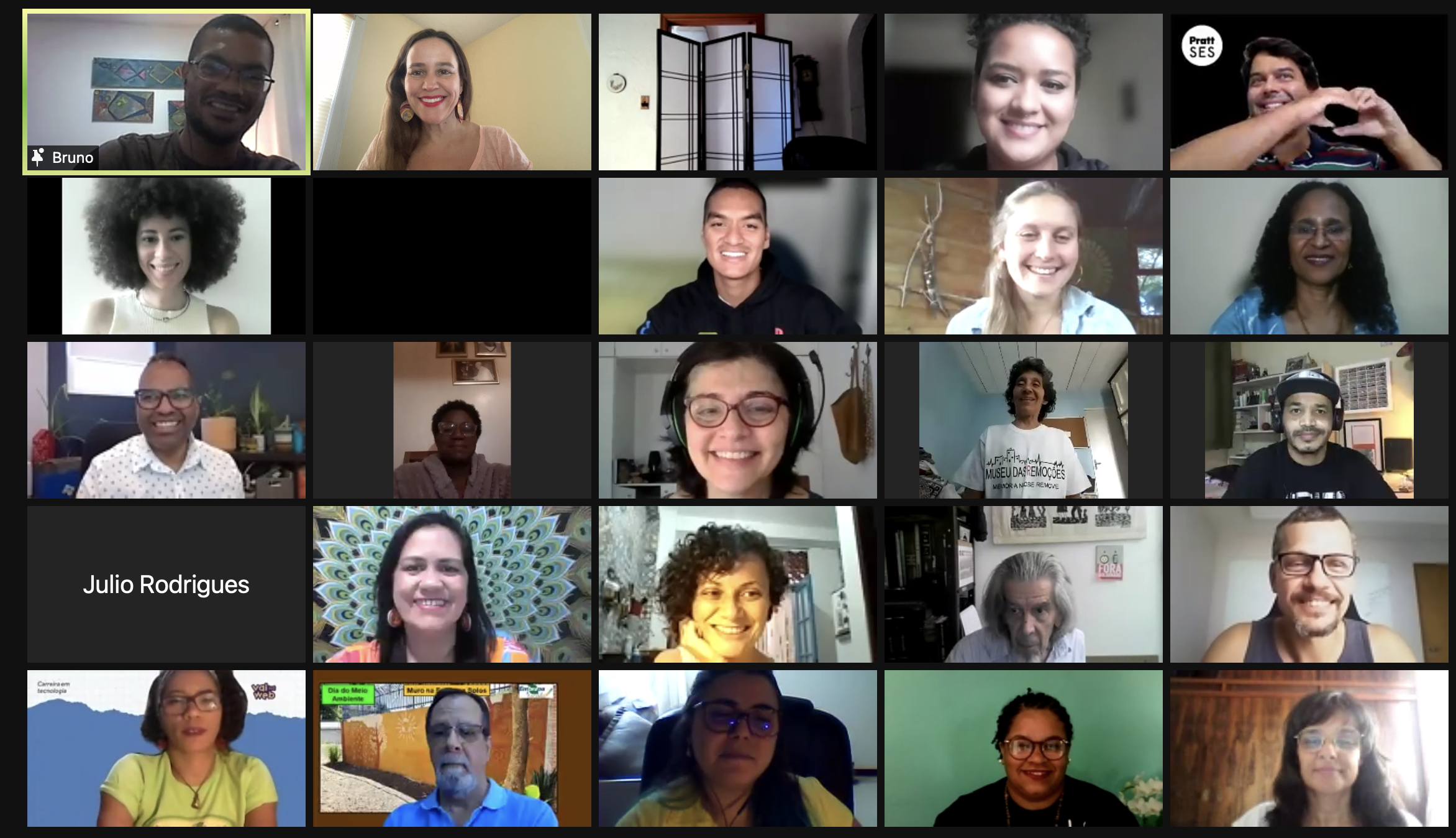 Participants of the Sustainable Favela Network International Exchange, that happened online on August 28, 2021