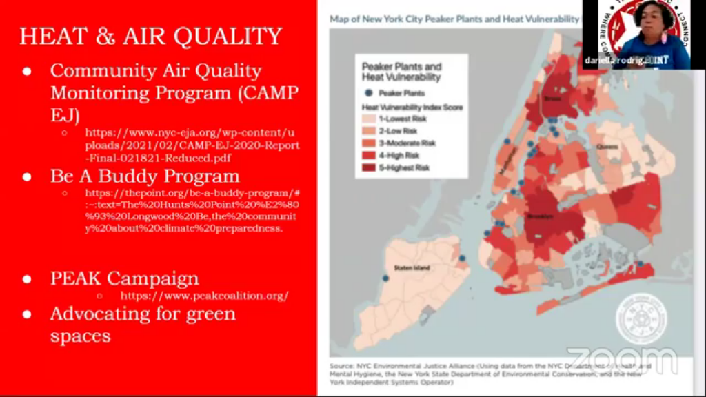 Responding to the fundamental issues of air quality and heat in the Bronx, presentation by Dariella Rodriguez